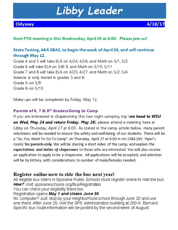 Next PTG Meeting Is This Wednesday, April 19 at 6:00. Please Join Us!