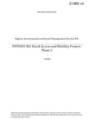 Nigeria: Environmental and Social Management Plan-ILE-IFE