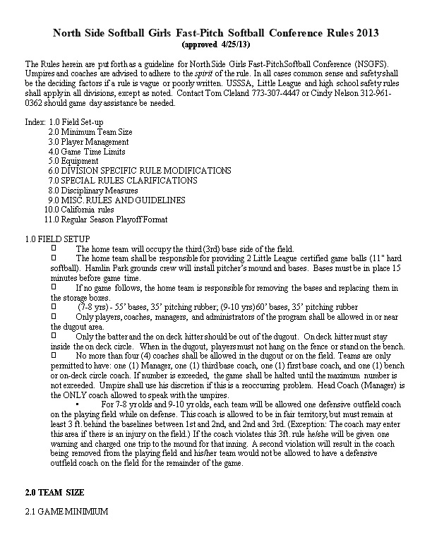 North Side Softball Girls Fast-Pitch Softball Conference Rules 2013