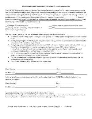 Northern Kentucky Coordinated Entry VI-SPDAT Client Consent Form