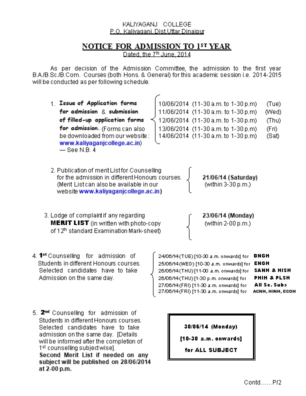 Notice for Admission to 1St Year