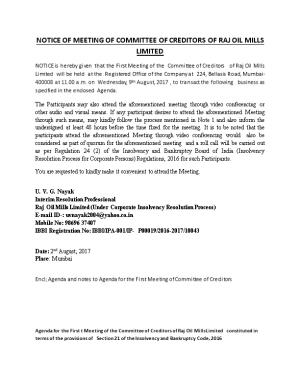 Notice of Meetingof Committee of Creditors of Raj Oil Mills Limited