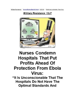 Nurses Condemn Hospitals That Put Profits Ahead of Protection from Ebola Virus