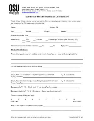 Nutrition and Health Information Questionnaire