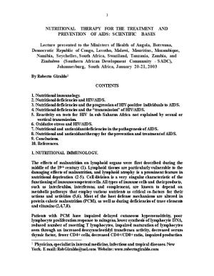 Nutritional Therapy for the Treatment and Prevention of Aids: Scientific Bases