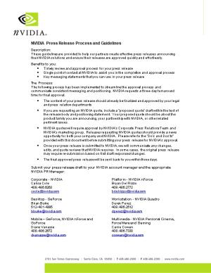 NVIDIA Press Release Process and Guidelines