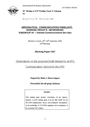 Observations on the Proposed Draft Manual for an IPS Communication Service for the ATN