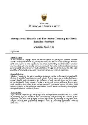 Occupational Hazards and Fire Safety Training for Newly Enrolled Students