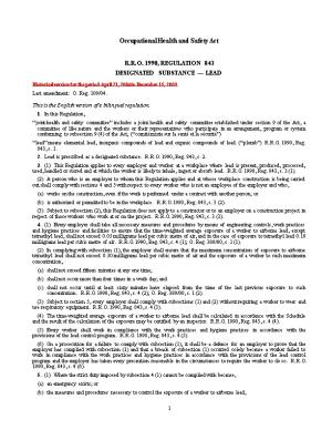 Occupational Health and Safety Act - R.R.O. 1990, Reg. 843