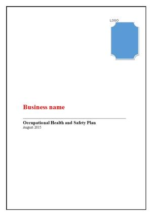 Occupational Health and Safety Plan