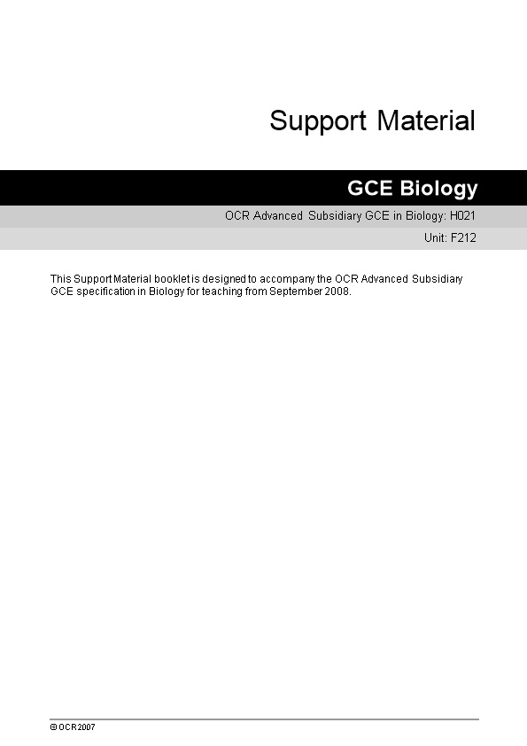 OCR Advanced Subsidiary GCE in Biology: H021
