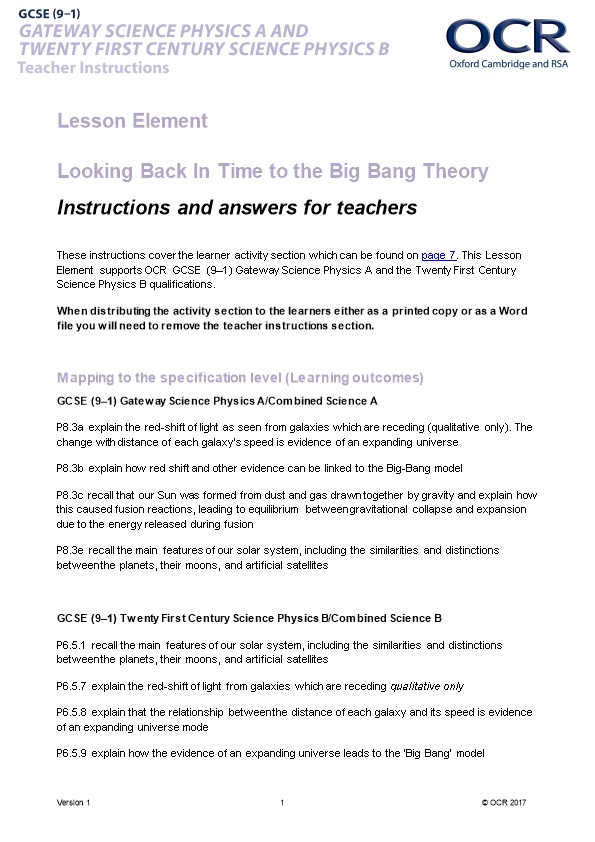 OCR GCSE (9-1) Gateway Science Physics a and Twenty First Century Science Physics B Lesson