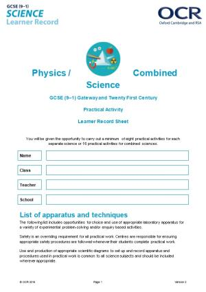 OCR GCSE (9-1) Science Physics Learner Record Sheet