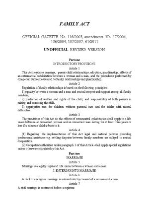OFFICIAL GAZETTE No. 116/2003, Amendments No. 17/2004, 136/2004, 107/2007, 61/2011