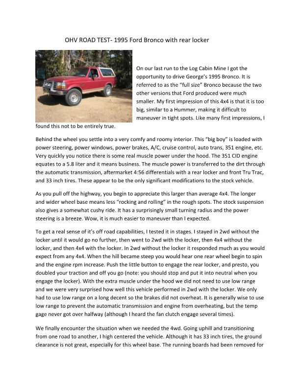 OHV ROAD TEST‐ 1995 Ford Bronco with Rear Locker