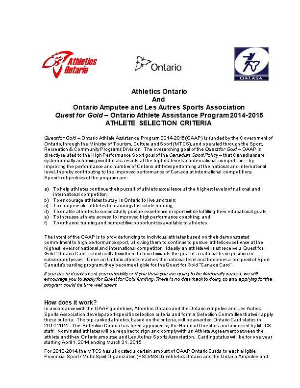 Ontario Amputee and Les Autres Sports Association