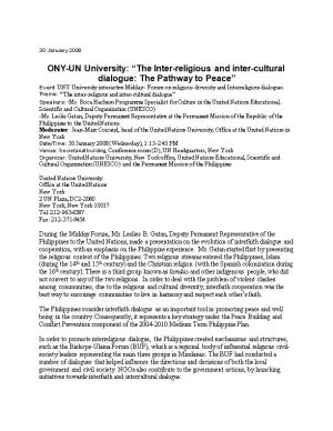 ONY-UN University: the Inter-Religious and Inter-Cultural Dialogue: the Pathway to Peace