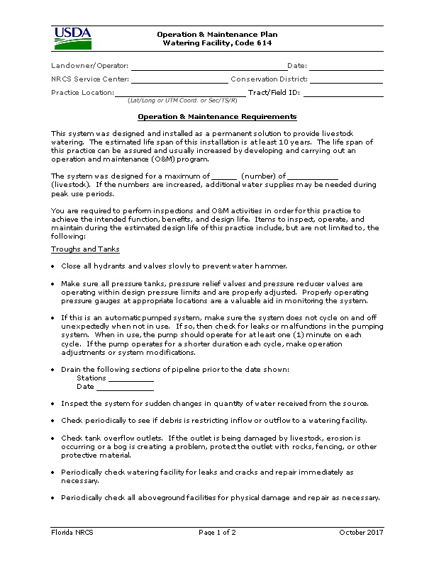 Operation and Maintenance Plan Watering Facility, Code 614