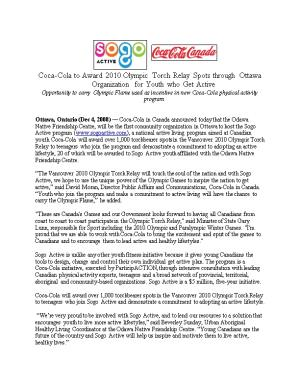 Opportunity to Carry Olympic Flame Used As Incentive in New Coca-Cola Physical Activity