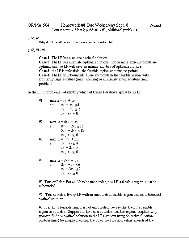 OR/MA 504 Homework #1 Solutions Fall 05