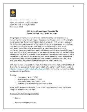 ORC Research Mentoring Opportunity