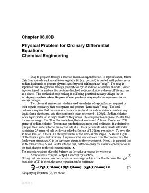 Ordinary Differential Equations-Physical Problem-Chemical Engineering