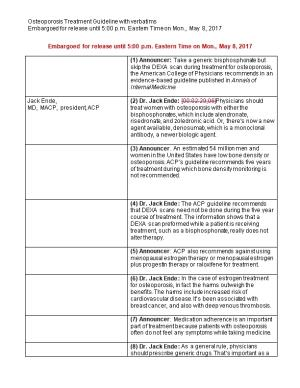 Osteoporosis Treatment Guideline with Verbatims