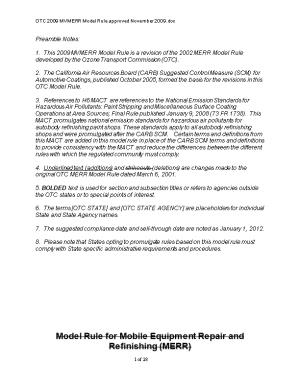 OTC 2009 MVMERR Model Rule Approved November 2009