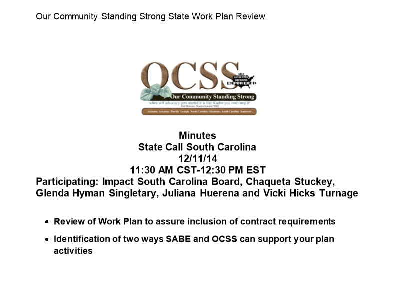 Our Community Standing Strong State Work Plan Review