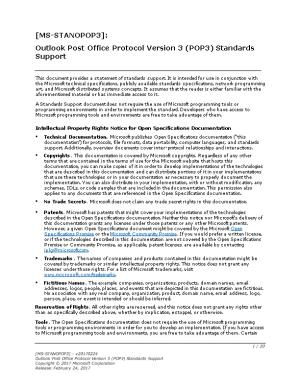 Outlook Post Office Protocol Version 3 (POP3) Standards Support