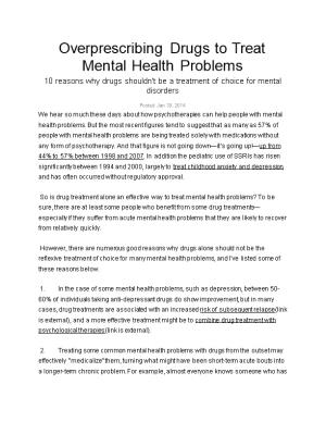 Overprescribing Drugs to Treat Mental Health Problems