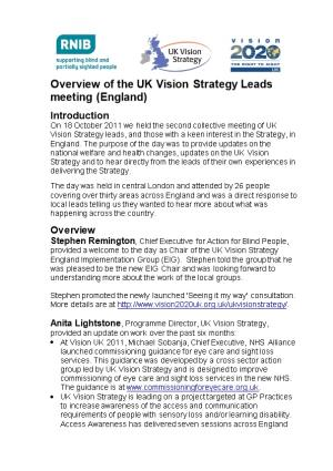 Overview of the UK Vision Strategy Leads Meeting (England)