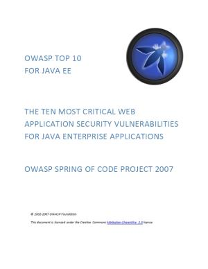 OWASP Top 10 for Java EE
