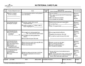 P: MASTER FORMS CATALOGUE CHAPTER 05 - DIETARY 05-008 Nutritional Care Planpage 1 of 206-06-2005