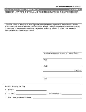 PA3679: Asbestos Abatement Waiver Letter
