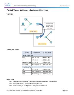 Packet Tracer Multiuser - Implement Services