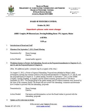 Page 1 of 3 Meeting Agenda Maine Board of Pesticides Control, October 26, 2012