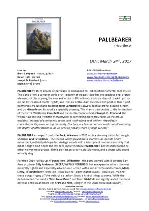 PALLBEARER Emerged from Little Rock, Arkansas in 2012 with a Stunning Debut Full-Length