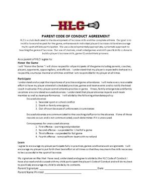 Parent Code of Conduct Agreement