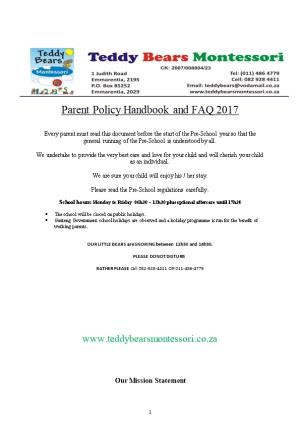 Parent Policy Handbook and FAQ 2017