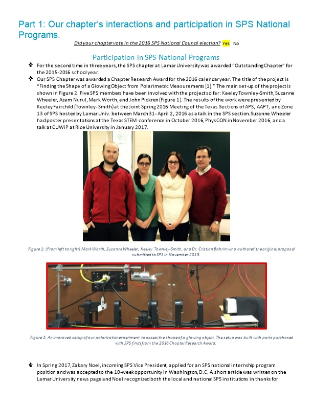 Part 1: Our Chapter S Interactions and Participation in SPS National Programs