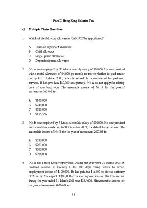 Part II Hong Kong Salaries Tax