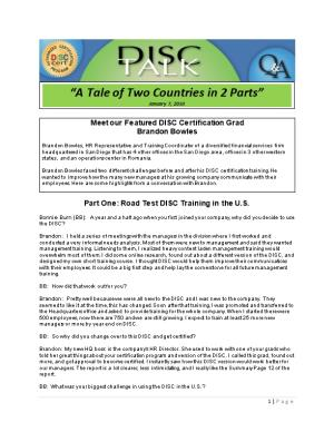Part One: Road Test DISC Training in the U.S