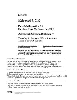 Past Paper - 6675 Pure P5 and Further Pure FP2 Jan 2006