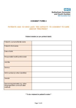 Patients Age 16+ Who Lack the Capacity to Consent to Care And/Or Treatment