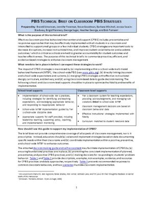PBIS Technical Brief on Classroom PBIS Strategies