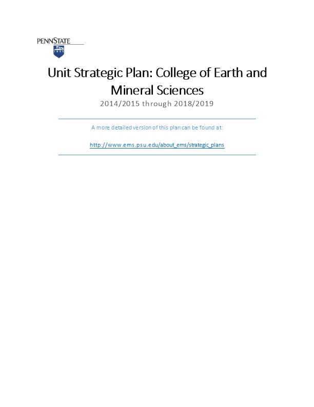 Penn State College of Earth and Mineral Sciences Strategic Plan