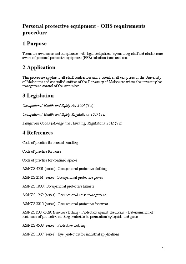 Personal Protective Equipment - OHS Requirements Procedure