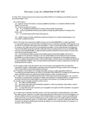 Personnel Claims Act, Extract from 31 USC 3721