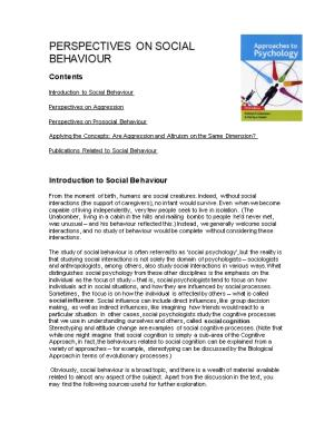Perspectives on Social Behaviour